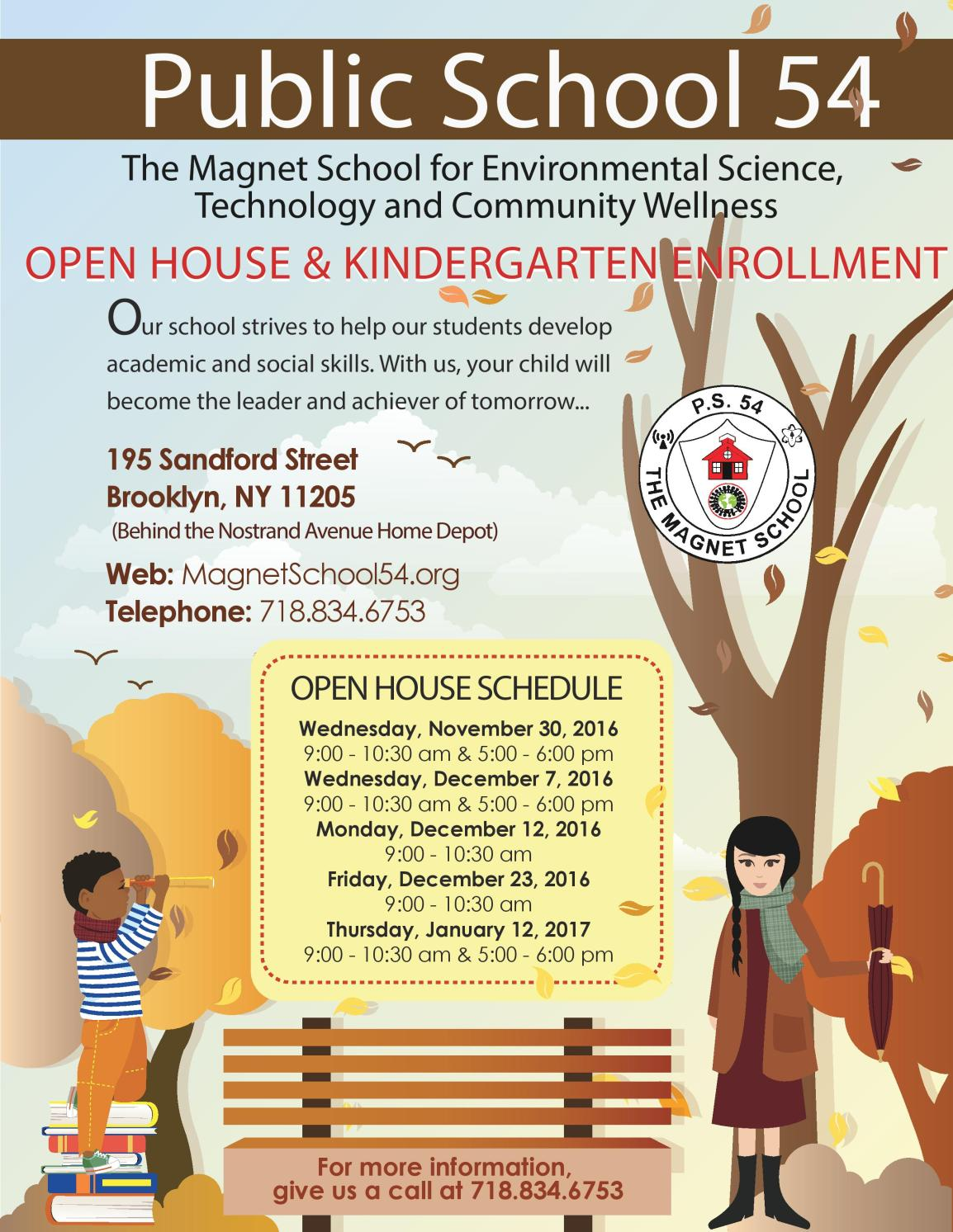 Please join our Open House and Kindergarten Enrollment Event.